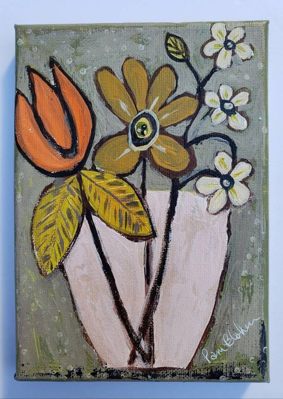 Flower original acrylic painting /5×7 small art canvas / Floral artwork