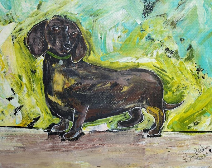 """Dachshund Dog  """"Expresso"""" - 9x12 Abstract Original  Acrylic Painting-Dachshund puppy  Painting - Brown Dog Portrait Art"""