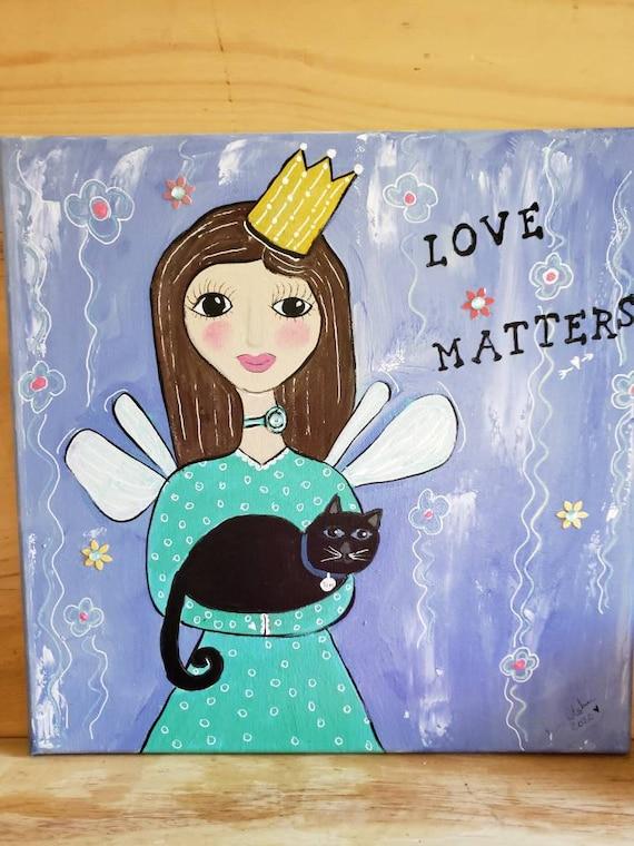 "Sweet Angel with her Black Cat ""Love Matters"" / 12x12 Wall art / angel art/ cat art/ Original acrylic painting"