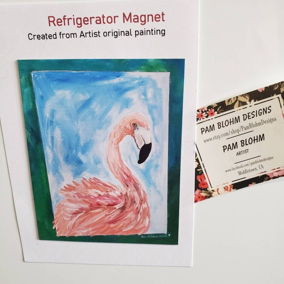 "Art MAGNET ""Flirting Flamingo""  kitchen decor / gift idea / Strong hold and flexible/made in USA /pretty small art."