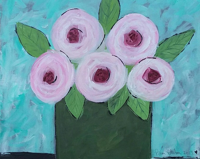 """Original Abstract Still Life - Pink Flower art """"Cotton Candy """" - Acrylic  Floral Painting - 12x12 Wall art - Nursery wall art-Pink and Green"""