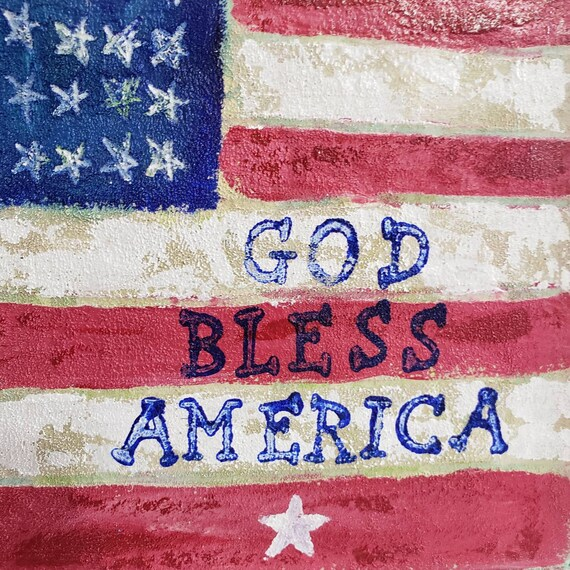 "Framed Original acrylic painting on Felt / 6x6 Americana hand painted flag / "" God Bless America"" word art / Stars and Stripes wall art"