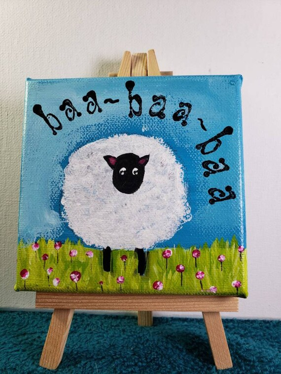 "Sheep original acrylic painting ""Baa-Baa-Baa"" / 4x4 small art includes display easel/tiered tray art /whimsical gift idea"