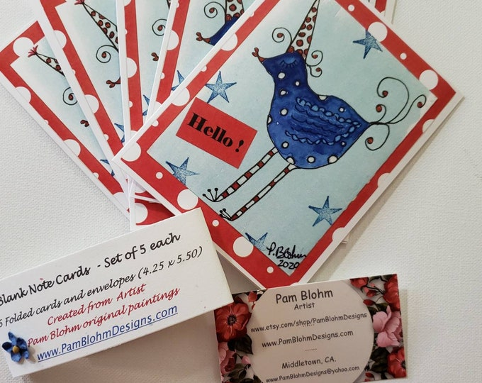 """HELLO  Note Card Set  """"Whimsical Party Bird """" says Hello - Artist Pam Blohm- Set of 5 Cards - Printed in the USA-Blank inside"""