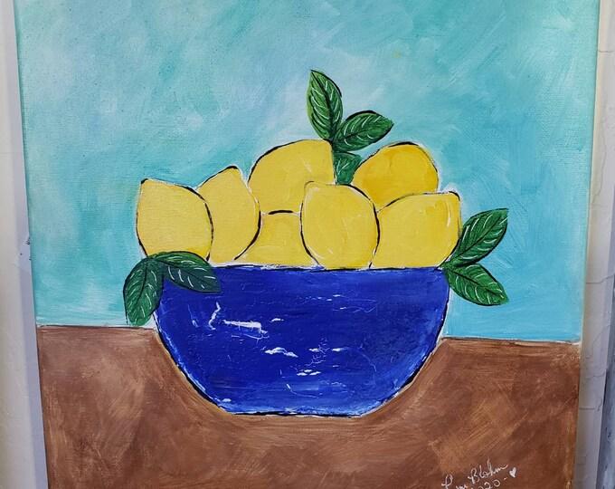 "Original Acrylic Painting ""Blue Bowl of Lemons "" - 12""x12 "" Kitchen Wall art-"
