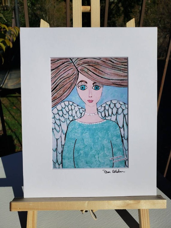 Artist PRINT / 8x10 Angel art from original painting / white matted ready to frame  / Angelic Home Decor