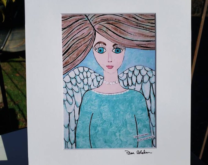 Artist PRINT - Angel art from original painting - 5x7 white matted to 8x10 -Angelic Home Decor -Wall art-Angel artwork
