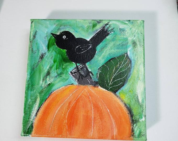 "Whimsical Fall Fun ""Blackbird &Pumpkin""- 6x6 deep wrapped gallery canvas- Original acrylic painting- Perching Crow - harvest artwork"