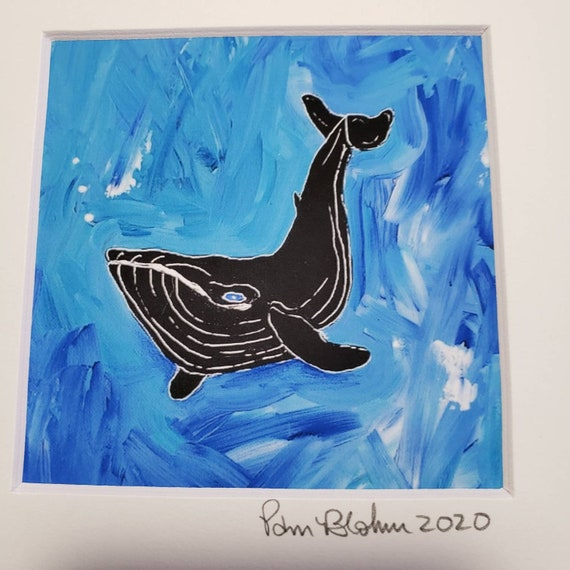 "Artist PRINT ""Deep-sea Diving"" from original acrylic painting by Pam Blohm/ 8x8 matted Whale / ocean art"