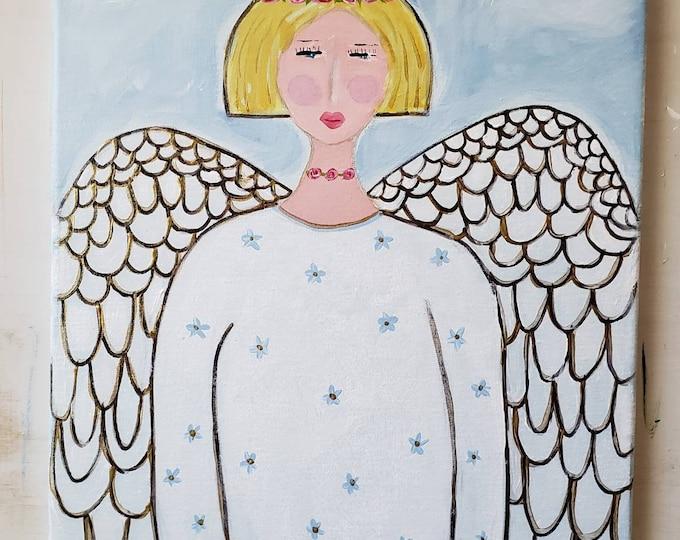 "Original Angel Acrylic Painting - ""Soaring Wings - 12x16  Angelic Wall art  - Whimsical Girl Art/"
