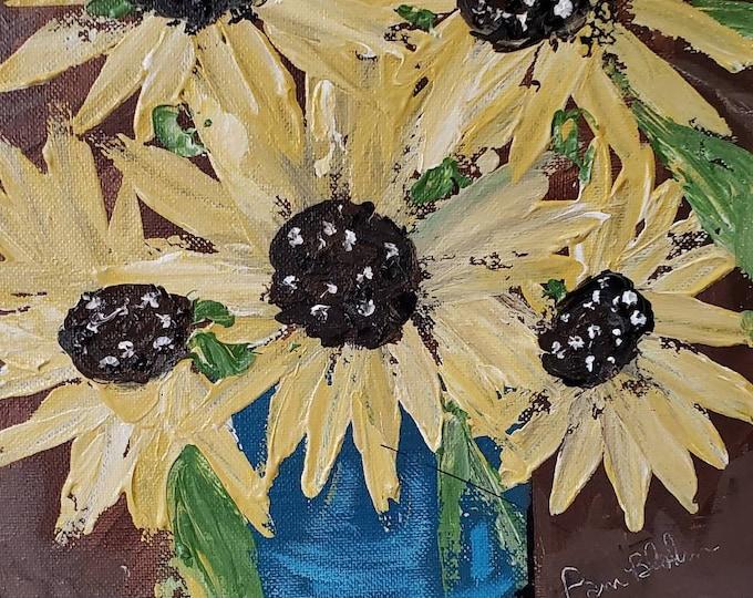 Sunflowers Bouquet original acrylic painting- 9x12 wall art -floral home decor