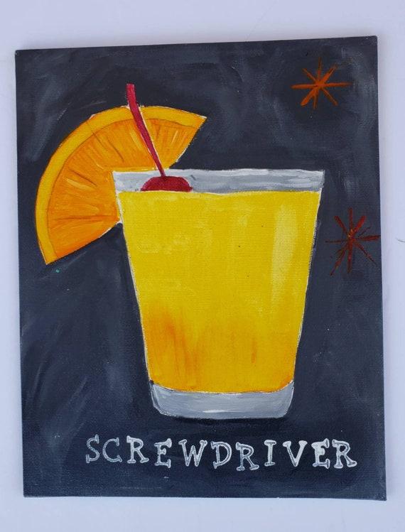 "Original Cocktail Acrylic Painting ""The Screwdriver "" /unframed 8x10"" Canvas Panel Wall art / home decor / Bar Decor"