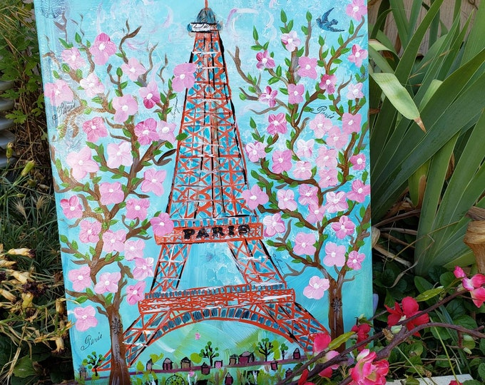 """Original acrylic Painting Eiffel Tower  """"Springtime in Paris """"  - French  Home Decor Wall art - 14x18 wood canvas"""