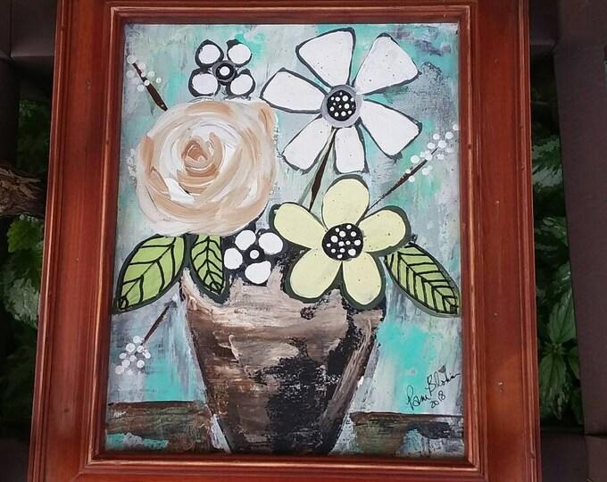 "Framed  ""My Summer Bouquet"" -8x10 Original Floral Acrylic Painting - BOHO Flower Wall Art"