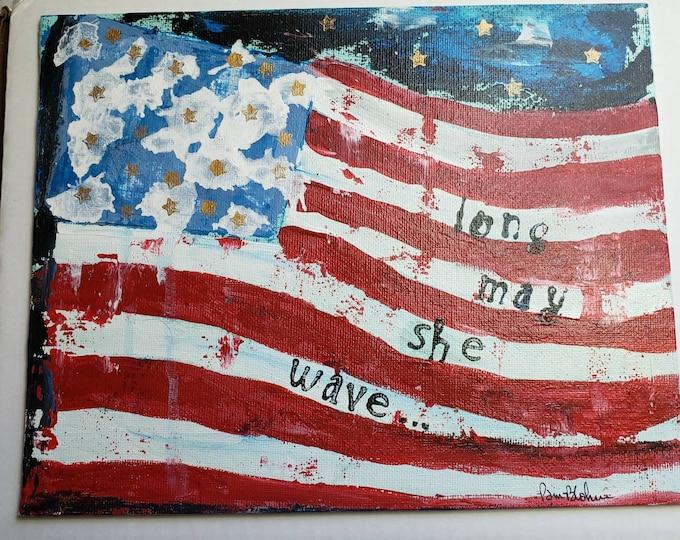 "USA Flag ""Long May She Wave"" -  8x10 Abstract original acrylic painting -Artist FLAT Canvas Panel /Americana Home Decor"