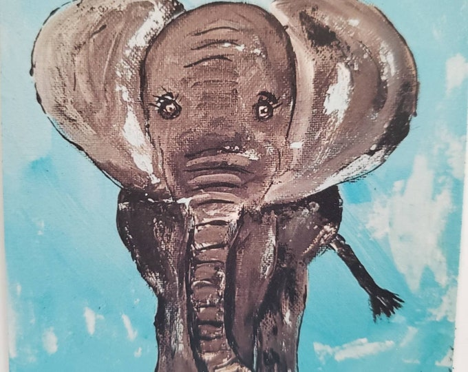 """Art MAGNET  """"Elephant"""" small art gift idea - home or office decor- made in the USA- Zoo animal - magnet collector"""