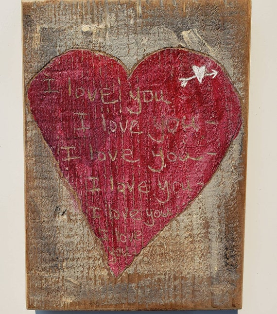 "Rustic Redwood home decor "" Red Love Heart"" farmhouse decor / antiqued wall art / I Love You wooden  sign / 5.35 x 7.5"""