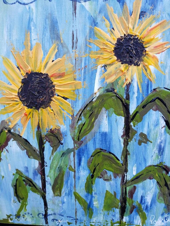 "Sunflowers original acrylic painting / "" Golden Beauties "" /  9x9 "" Birchwood canvas Wall art/ home decor"