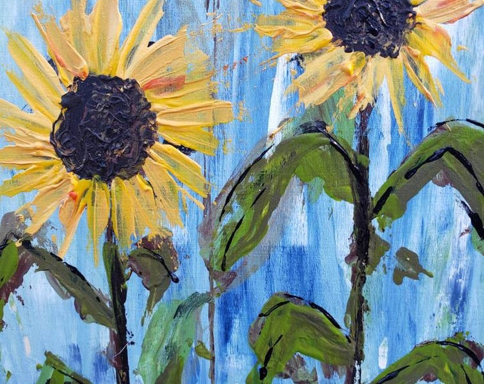 "Sunflowers acrylic painting - "" Golden Beauties "" -  Nearly 8x8 "" Birchwood canvas Wall art- Yellow Flowers -original  home decor"