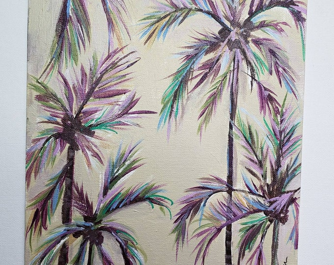 "Original acrylic painting-""Tropical Palms"" - Contemporary Modern wall art - 8x10 Canvas Panel-Palm Trees Home Decor"