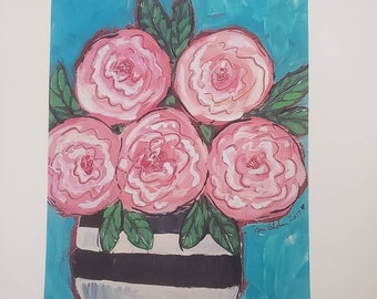 Artist PRINT matted to 8x10- Abstract Flowers in Striped Vase
