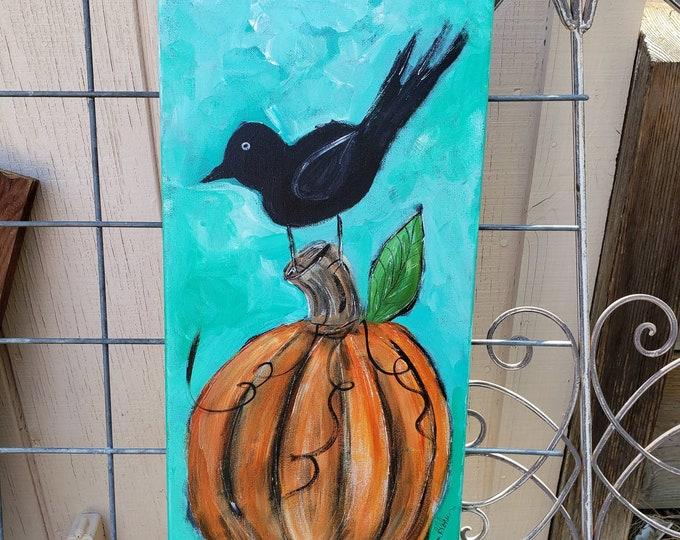 "Perching Crow  ""Blackbird Sitting"" --10x20 original acrylic wall art- Orange Pumpkin & Crow- Holiday Decor -"