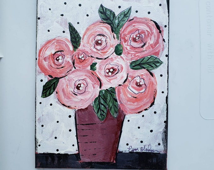 """Bouquet of Roses """" Petty Petals """" - 5x7 small art on Canvas Panel- Original acrylic painting"""
