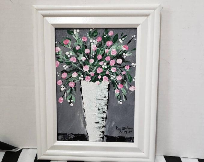 "FRAMED Pink Flowers ""California Splash "" - 5x7 Original Acrylic painting - Flower & Vases Bouquet"