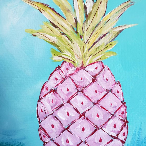 "Original acrylic painting ""Hawaii's Pink Pineapple"" /   12x12"" Kitchen Deco /  Fresh Fruit Wall art ."