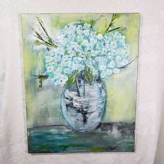 "Original acrylic painting ""Cottage Blooms""/  hydrangea floral artwork / 16x20 Wall art/Home decor/Nursery Artwork"