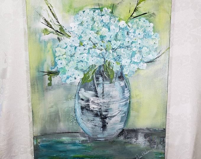 "Original acrylic painting ""Cottage Blooms"" - Hydrangea floral artwork - 16x20 Wall art-Home decor-Nursery Artwork"