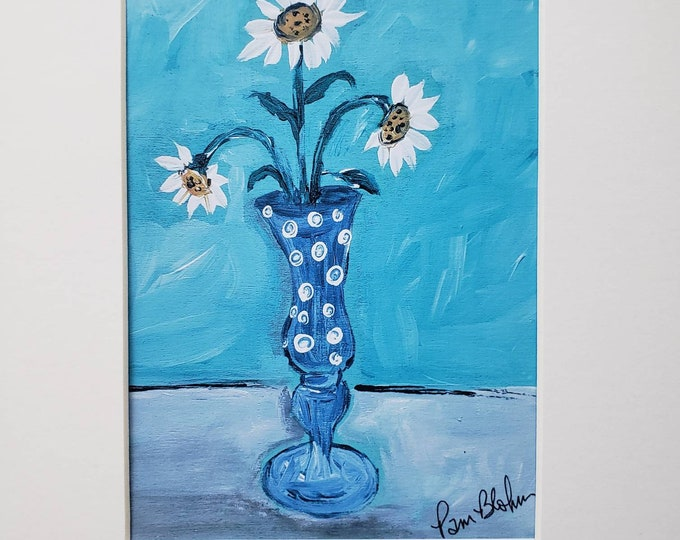 """Polka dots """"Vase of Daisies"""" artist PRINT from original painting-White Matted to 8x10 frame size"""