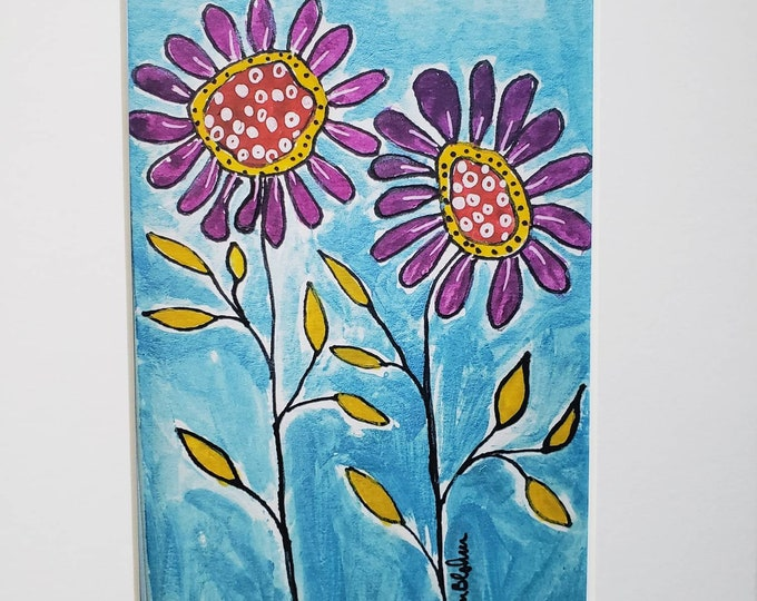 """Watercolor Print """" Whimsical Purple Flowers """" white matted to  8x10  frame size"""