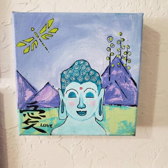 "Original acrylic ""Boy Buddha"" 6x6 canvas artwork/home decor/shelf art /wall decor/Abstract Buddha art"
