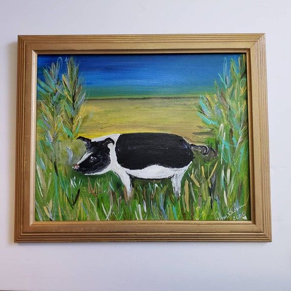 "Original acrylic painting ""Wild and Free"" Farmhouse Pig / 8x10 canvas in upcycled gold frame / Nursery Wall artwork"