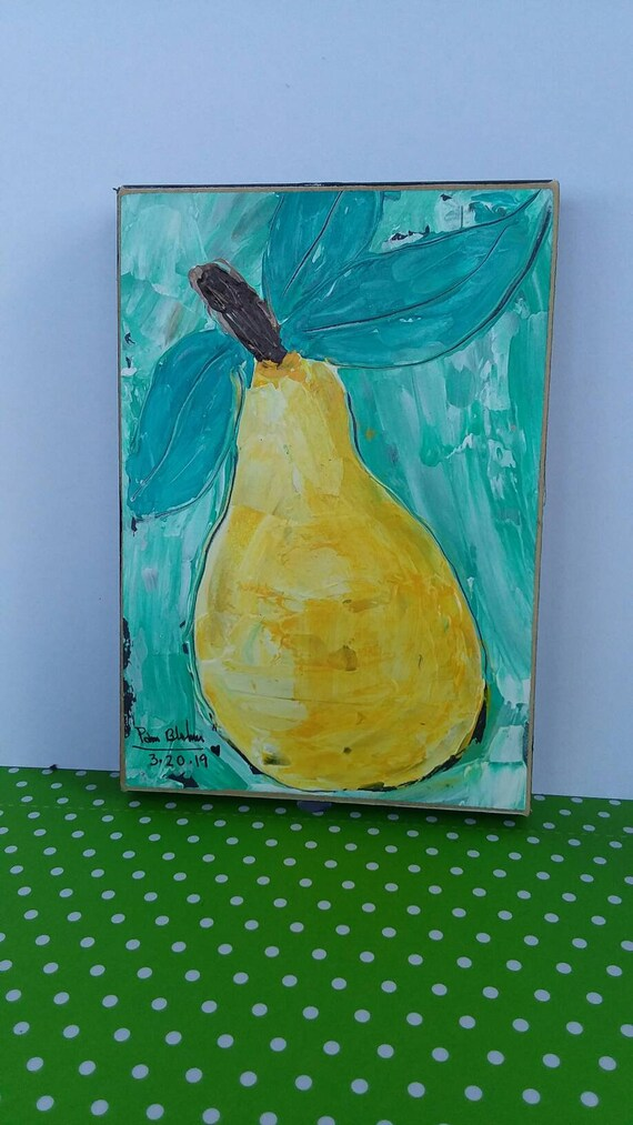 "Abstract pear. ""Golden sunshine"" -Original acrylic  painting / kitchen art /restaraunt art/ fruit art/abstract pear/Food art"