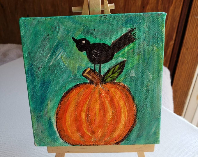 """4x4 Small art canvas """"Perching Crow"""" Pumpkin and Blackbird Fall Decor- Tier Tray Accent - mantle home deco - includes display easel"""