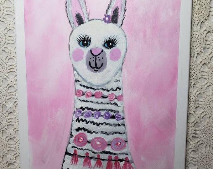 """Cute  """" Lacy the Llama"""" Original Acrylic Painting - 16x20 Pink wall art- Whimsical  Decor -Home or Office decor- Farm Animal nursery art"""