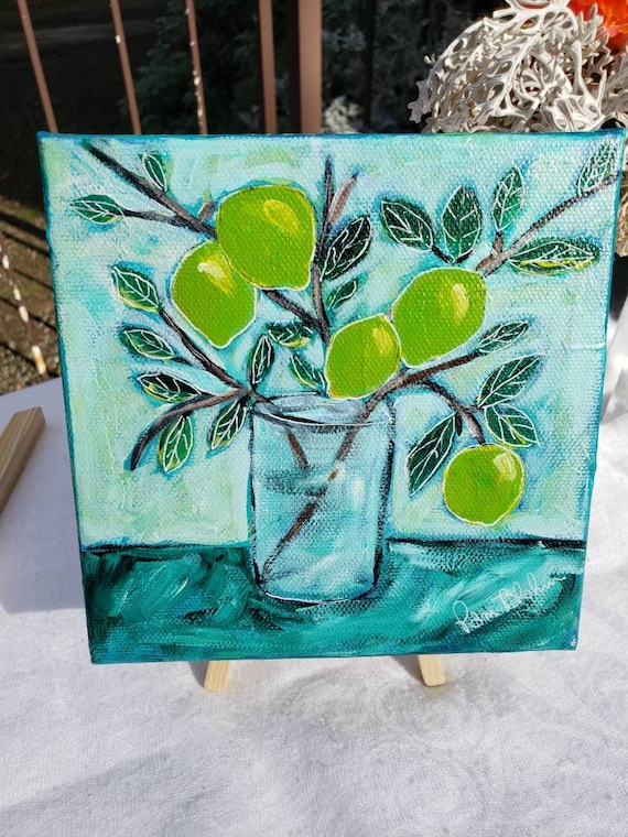 "Original ""Branch of Limes "" Acrylic Painting/6x6  Deep Wrap Canvas Wall art"