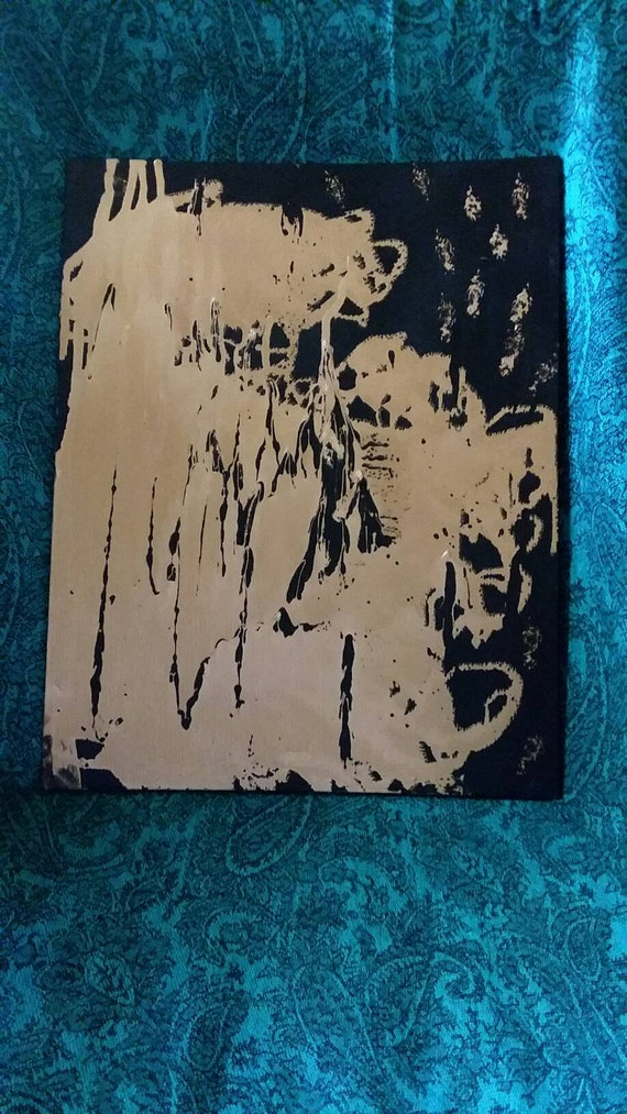 """Original Abstract """"The Ego""""  Acrylic Paint/ liquid gold leaf.  11x14 free form artwork /Wall art/home art/abstract/ Masculine/black and Gold"""