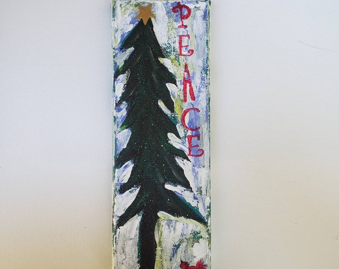 Small art original-PEACE Christmas decoration - 3x9 canvas Holiday decor for home or office.