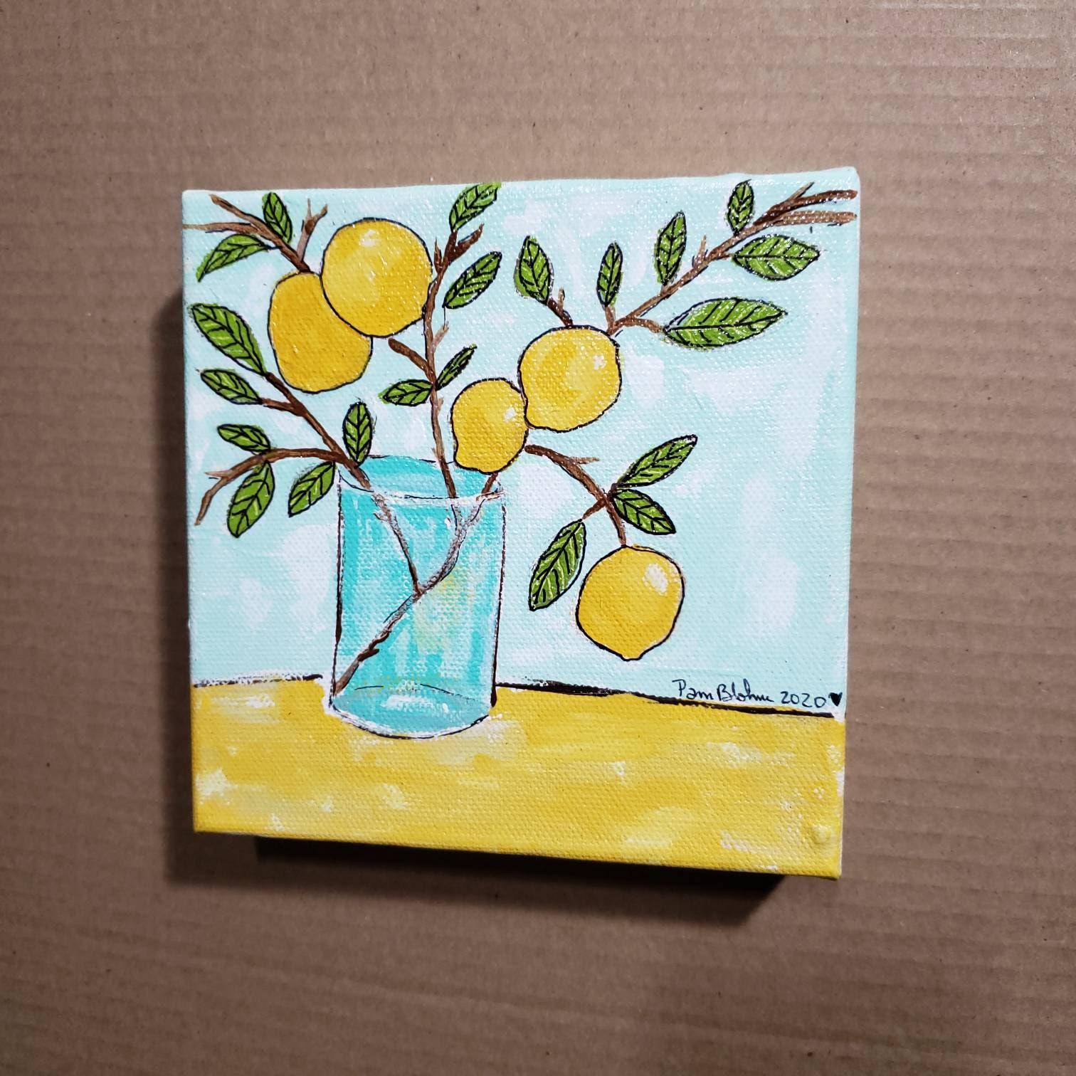 6x6 Deep Canvas Lemon Branch Original Acrylic Painting Kitchen Or Office Decor Shelf Or Wall Art