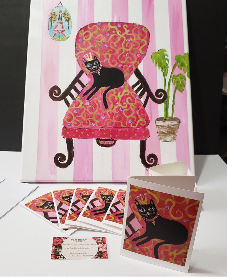 Pretty Princess Kitty Blank Note Cardsset of 5 cards gift packaged Artist greeting cards  by artist Pam Blohm