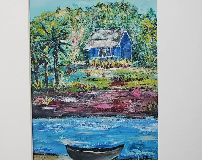 """Artist PRINT """"Blue Hut"""" from original acrylic painting by Pam Blohm- white matted to 8x10 frame size."""
