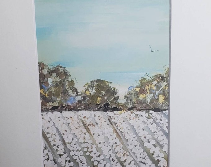 """Fine Art  PRINT """"Summer Cottonfield"""" -from original painting by Pam Blohm-white matted 5x7 to  8x10"""