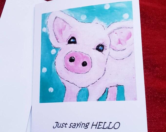 "Pig note card set -"" Just saying Hello""  - 5 card gift set & self adhesive envelopes"