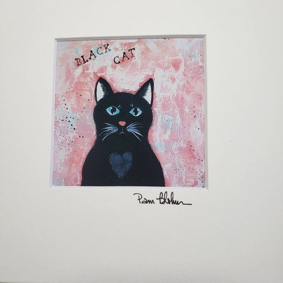 "Artist PRINT ""Black Cat"" 8x8 Matted artwork"