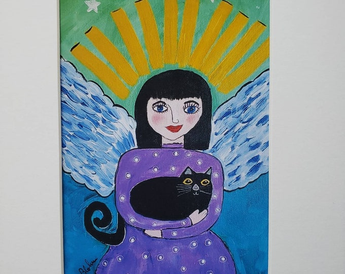 """Artist PRINT """" Black Cat Angel"""" from original acrylic painting by Pam Blohm- white matted to fit 8x10 frame size"""