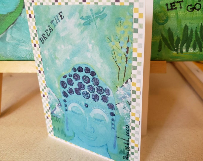 """Blank Note Cards  """"Blue Buddha"""" -Gift Packaging -Set of 5 cards -From Original Art by Pam Blohm -Printed in USA"""
