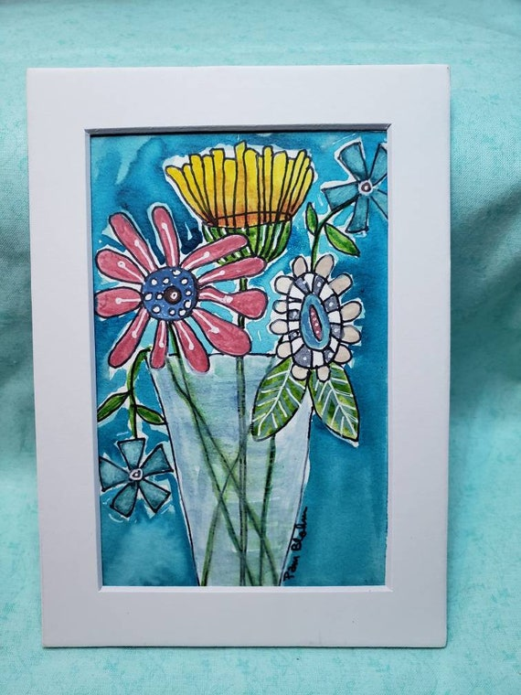 "Watercolor and ink ""Wildflowers"" original painting/ Whimsical Flower art /Matted to 5x7"